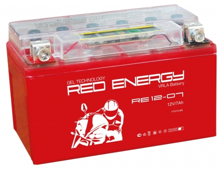 АКБ 12V  7 А/ч RE1207 Red Energy 150x86x94