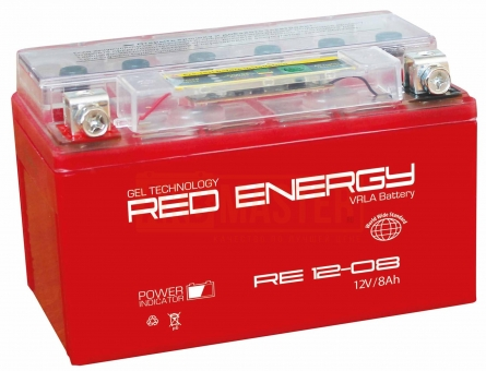 АКБ 12V  8 А/ч RE1208 Red Energy 150x66x95
